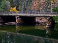 little bridge reflection over the river