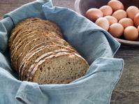 Fresh whole wheat bread and eggs
