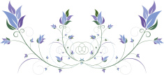 Blue Floral and Swirls Design Element