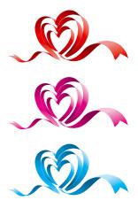 Three colors love heart ribbon