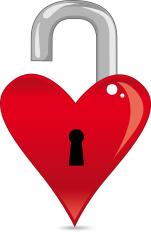 Opened Heart padlock