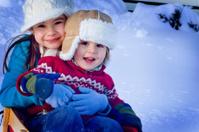 Winter Family Fun happy children in snow