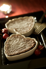 Romantic Valentine Chocolate Heart Dessert for Two with Candleli