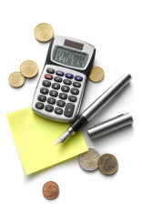 Office: Adhesive Note, Calculator, Coins and Pen