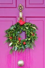 Wreath on a Pink Door
