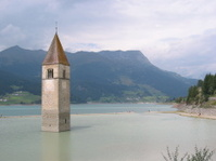 Church tower lost in a lake