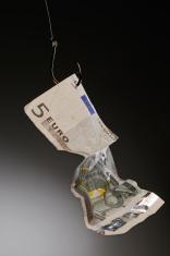 Money on fishing hook