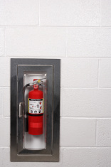 Fire Extinguisher Mounted Into Wall
