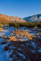 Frozen Creek Winter Scenic in the Desert Moab Utah