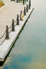 Line of railing post