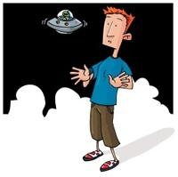 Cartoon Alien encounter