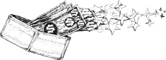 Wallet and Dollar Bills Flying Away