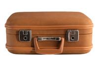 Tan colored suitcase