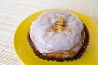 Donut on a yellow plate