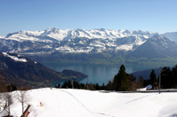 Snow, lake and mountains in Switzerland