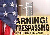 warning sign and flag