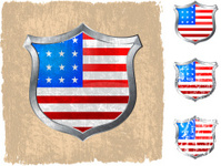 US flag on royalty free vector Background