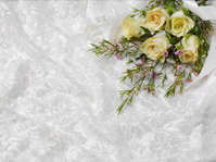 Bouquet of Flowers on Lace