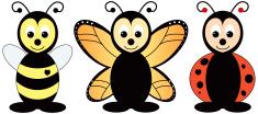 Bee, Butterfly, Ladybug