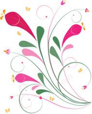 Floral Leaf Scrolls and Swirls Design Element - Spring Colors