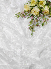 Bouquet of Flowers on White Lace