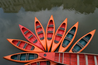 Orange rental canoes