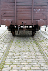 Obsolete freight train from behind