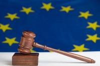 Gavel against EU flag