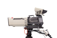 Grey television camera isolated on white