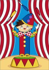 Cute Little Circus Clown Juggling