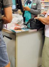 Cash register checkout counter