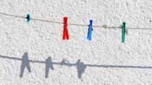 Pegs on clothesline