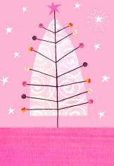 Christmas Tree Retro Ornaments Pink Background