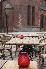 Cafe on Dome square in Riga