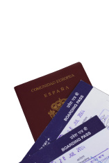 Passport and a boarding pass