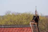 Ornate antique lightning rod; Slate roof