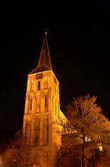 Church at night in golden light
