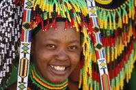 Zulu woman amongst beads