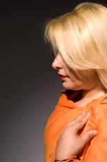 lady in orange shawl