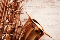 Grunge saxophone on music