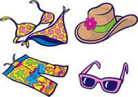 Bikini, Sunglasses, Hat, Clam Diggers - Beach Apparel