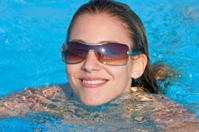 beautiful woman face in a swimmingpool
