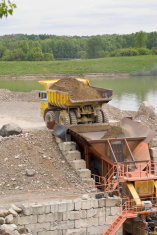 pit truck and crusher