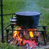 Campfire and cauldron.