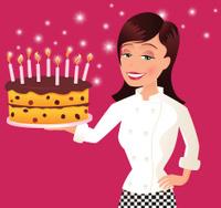 Female chef with large birthday cake