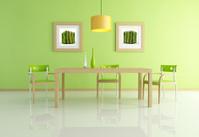 contemporary green dining room