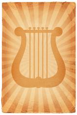Greek lyre on old paper Background