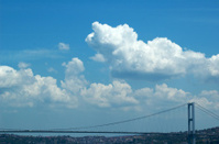 Low angle view of a bridge, Bosphorus, Istanbul, Turkey