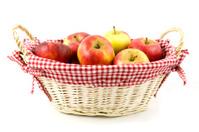 Apples in wooden basket