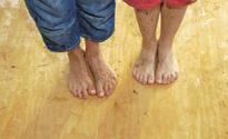 Children's feet wet dirty